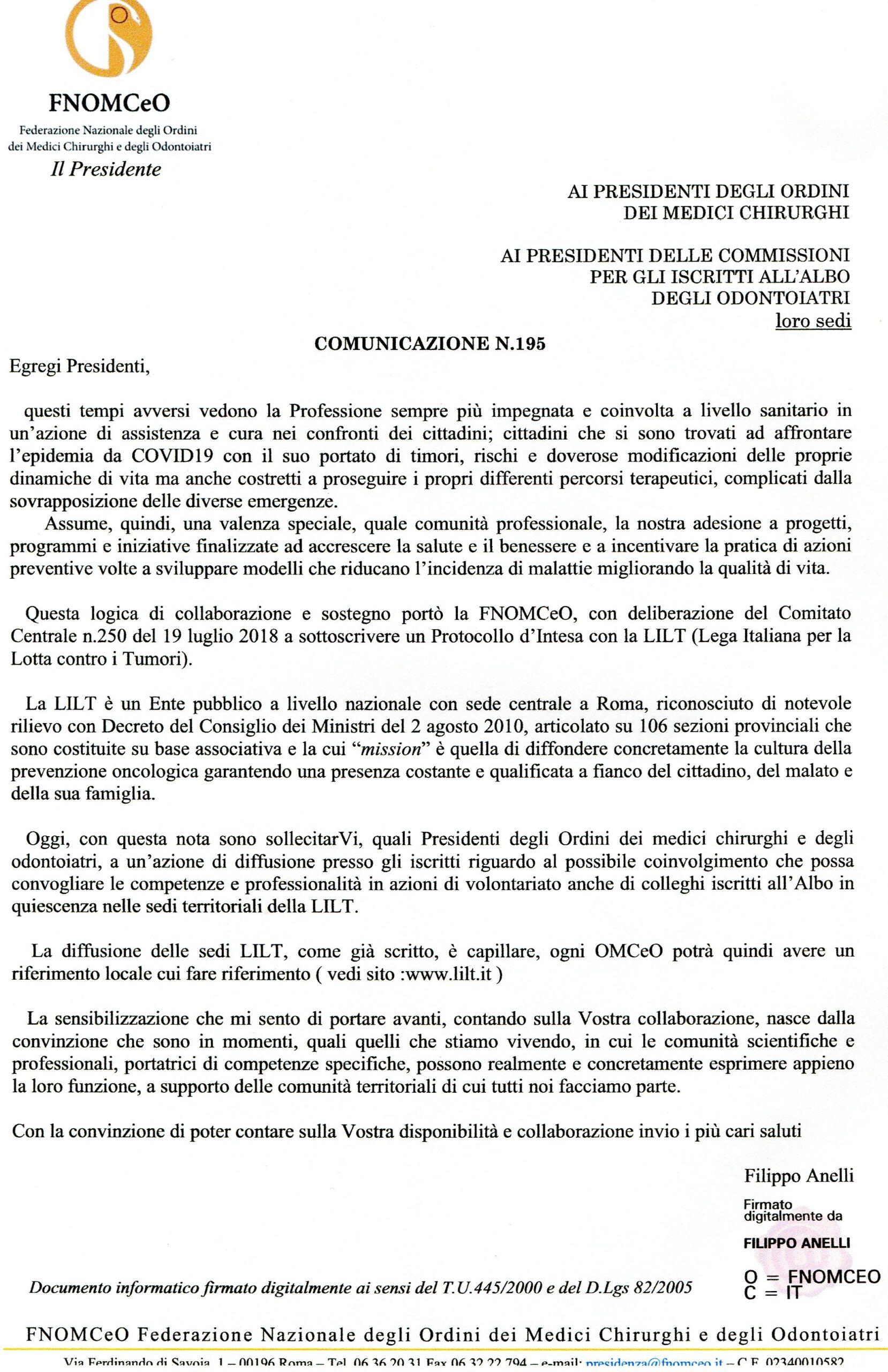 Convenzione firmata dalla LILT Nazionale con FOMCeO