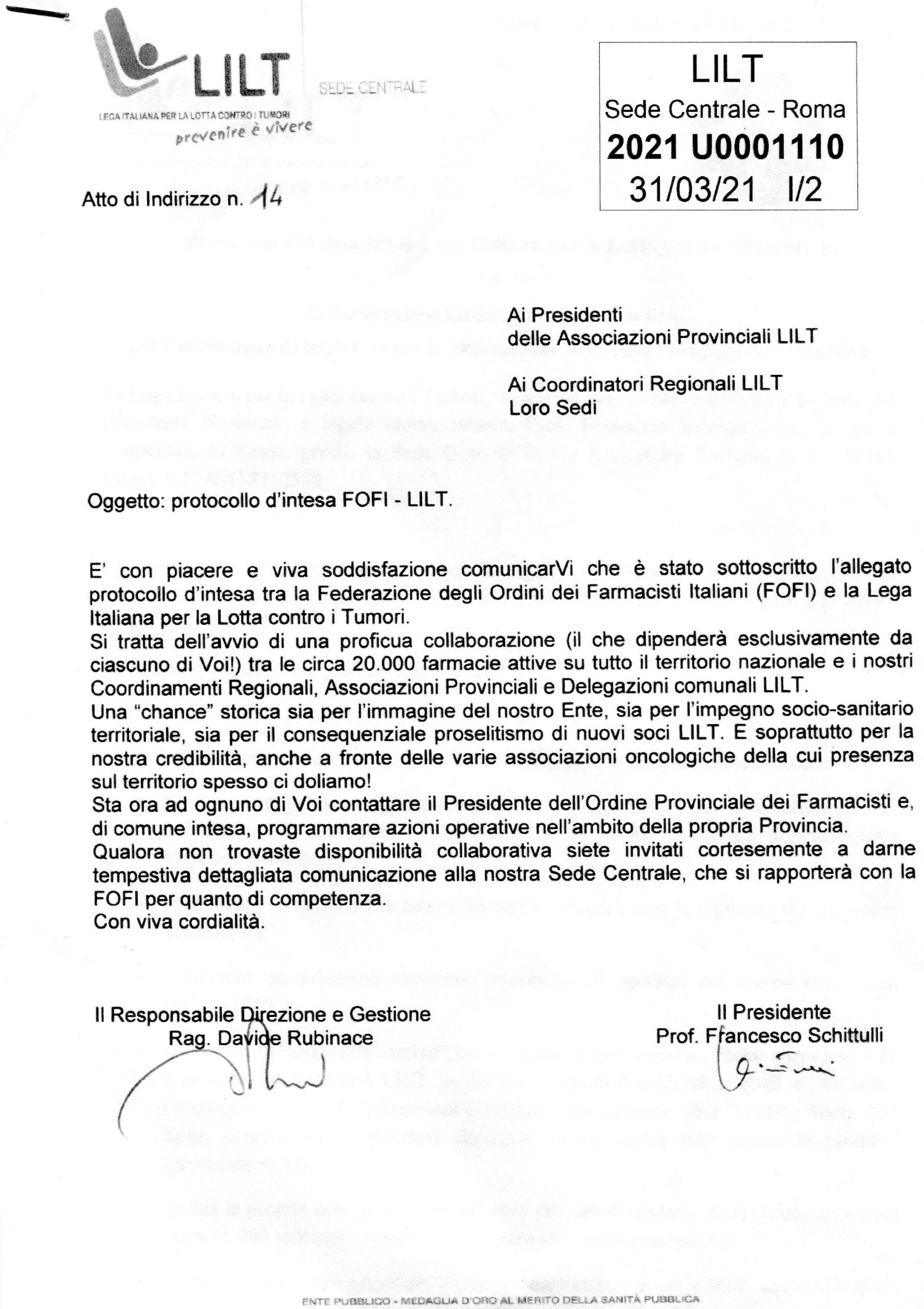 Convenzione tra la LILT  e la FOFI (Federazione Ordini Farmacisti Italiani)
